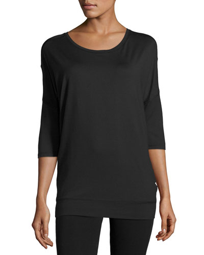 Tranquility Mesh-Panel Tunic, Black