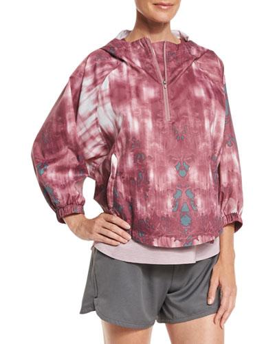 Gymset Cropped Anorak Jacket, Nostalgia Rose/Balsam Green Photo Floral Print