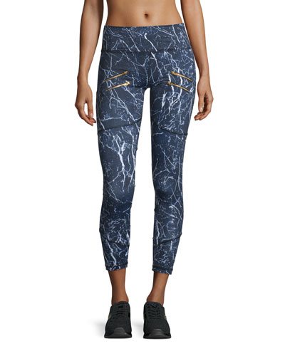 Palms Zip-Detail Compression Running Tights, Navy Marble