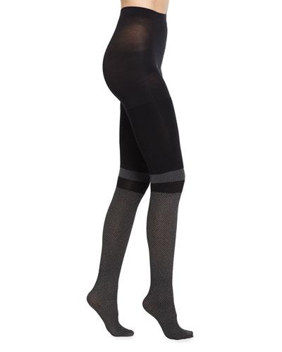 Faux Socks Tights, Very Black