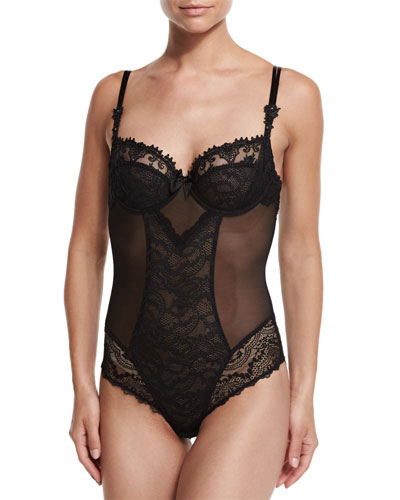 Cristal D'Art Lace Bodysuit, Black