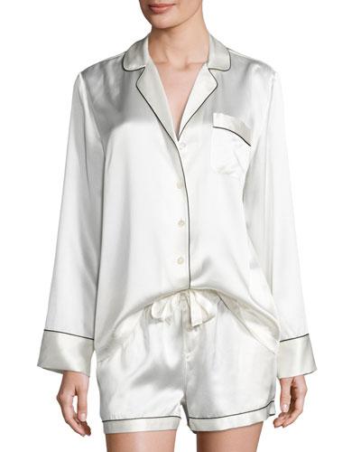 Silk Shortie Pajama Set, Ivory