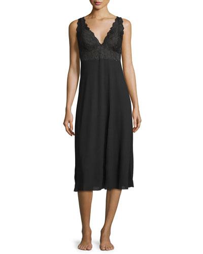 Zen Lace-Trim Gown, Black