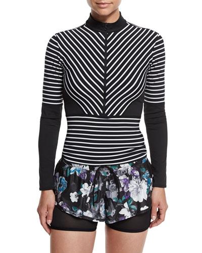 Studio Stripe Long-Sleeve Top, Black/White