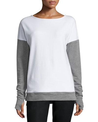 Cross-Back Colorblock Sweatshirt, White/Medium Gray Heather