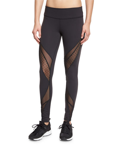 Swiss-Dot Mesh-Panel Long Sport Leggings, Converged Black