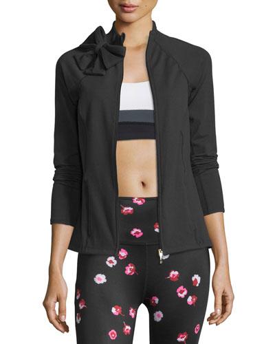 kate spade new york bow-neck sport jacket, black