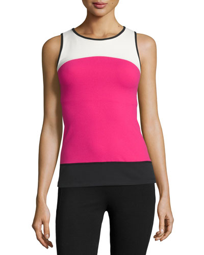Active Banded Tank Top, Carnation/Cream