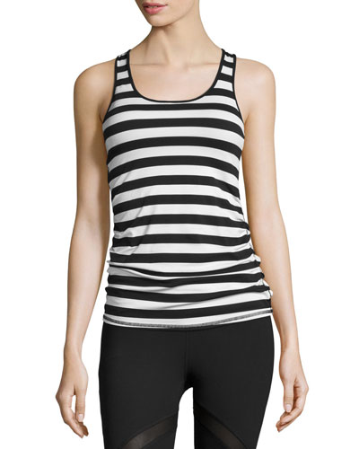 Bumble Anchor Striped Sport Tank, Black/White