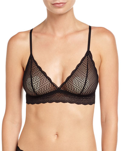 Sweet Treats Geometric Lace Soft Bra, Black