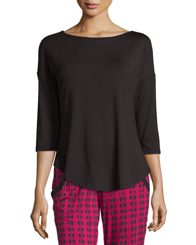 Talco 3/4-Sleeve Top, Black