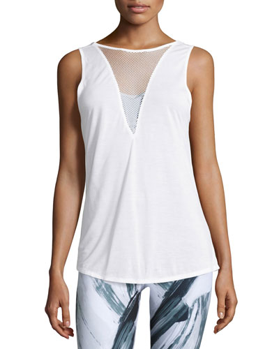 Warm-Up Mesh-Inset Sport Tank Top, White