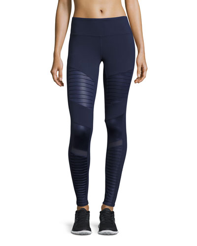 Moto High-Waist Sport Leggings, Navy