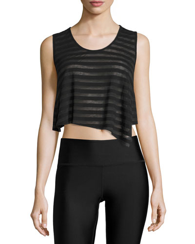 Easy Cropped Muscle Tank Top, Black Stripe/Black