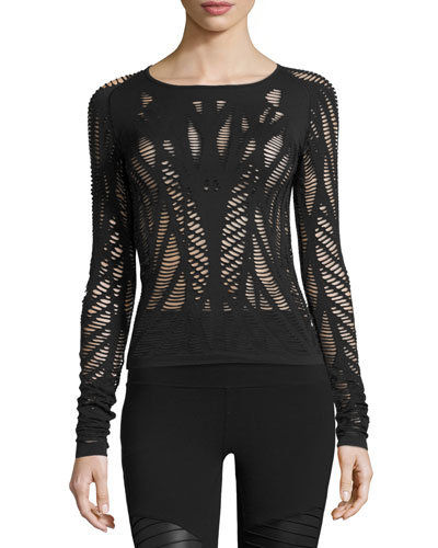 Wanderer Laser-Cut Long-Sleeve Sport Top, Black