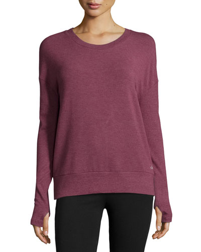 Intricate Cutout-Back Sport Pullover, Grenache Heather
