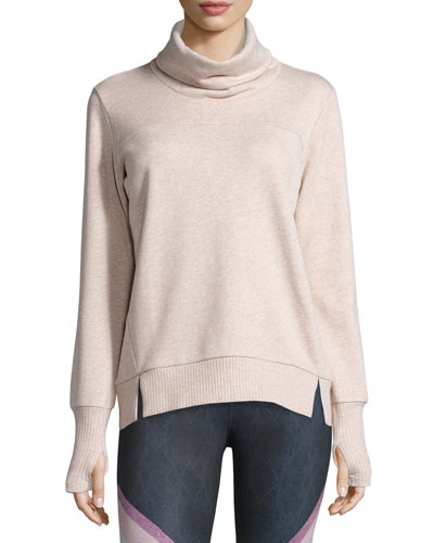 Haze Long-Sleeve Turtleneck Sweatshirt, Buff Heather