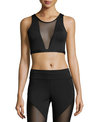 Terri Sports Bra W/Mesh Panel, Black