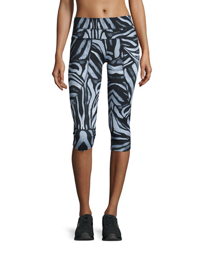 Pico Cropped Running Tights, Emerald Tiger