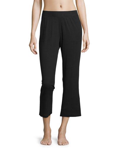Travel Rib Lounge Crop Pants, Black