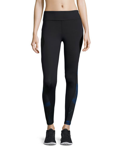 Edge Printed Ankle Running Tights/Sport Leggings, Blue Suro Print/Black