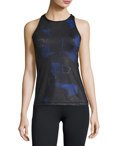 Printed-Front Racerback Sport Tank, Blue Suro Print/Black