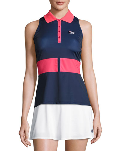 MB Court Central Sleeveless Polo Shirt, Blue