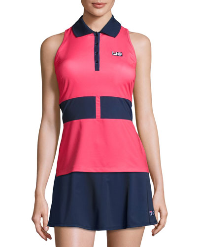 MB Court Central Sleeveless Polo Shirt, Red