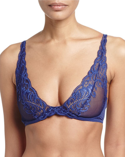 Feathers Wireless Convertible Bra, Blueberry