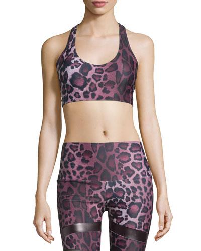 Wrap T-Back Strappy Sports Bra, Purple Cheetah
