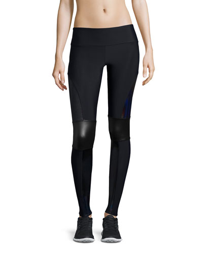 Paneled Moto Sport Leggings, Black Halo