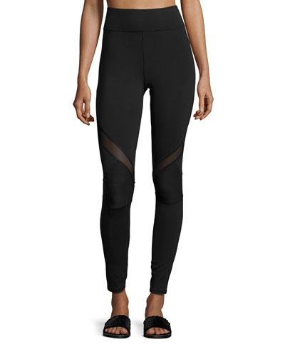 Chicane Mesh-Inset Sport Leggings, Black