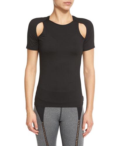 Slash Cutout-Shoulder Sport Top, Black