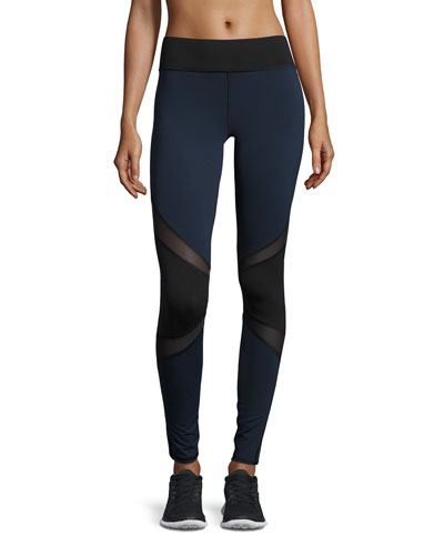 Pulsar Colorblock Mesh-Panel Athletic Leggings, Navy