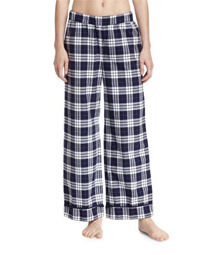 Plaid Wide-Leg Pants, Blue