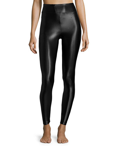 Lustrous High-Rise Athletic Leggings, Black