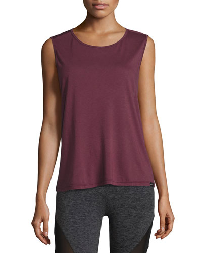 Aura Strappy-Back Performance Tank, Wine