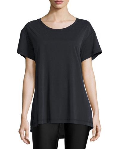 Vent-A-Lation Cutout-Back T-Shirt Dress, Black