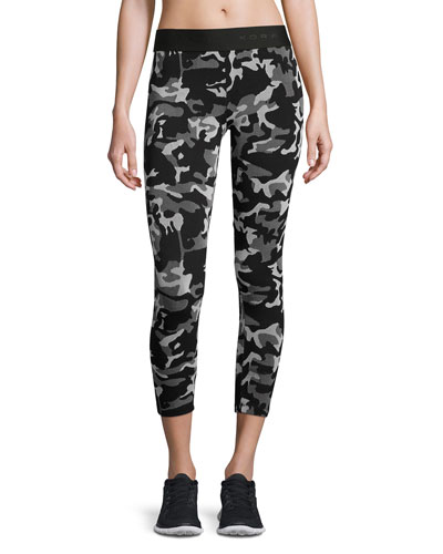 Knockout Cropped Athletic Leggings, Black Camo