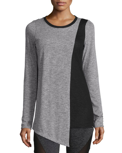 Elliptic Long-Sleeve Sport Top, Heather Gray/Black