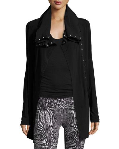 Side-Snap Long Athletic Jacket, Black