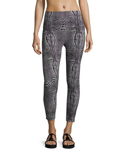 Printed Stretch Yoga Leggings, Illusion
