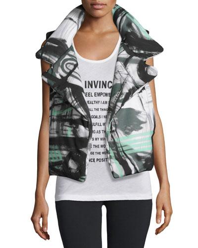 Graffiti-Print Sleeping Bag Puffer Vest