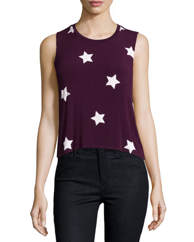 Star-Print Sutra Muscle Tank Top, Aubergine