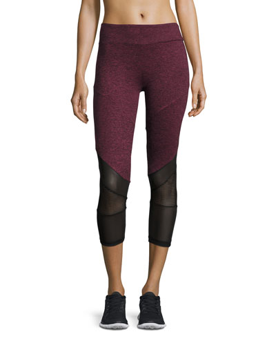Mesh-Combo Cropped Athletic Leggings, Orchid