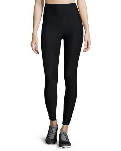 Brushed High-Waist Athletic Leggings, Black