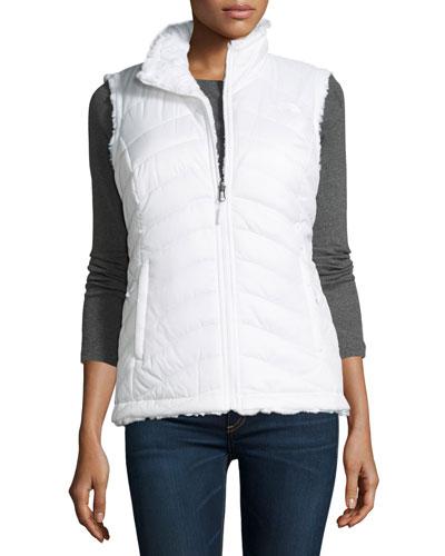 Mossbud Swirl Fleece & Taffeta Reversible Vest, White