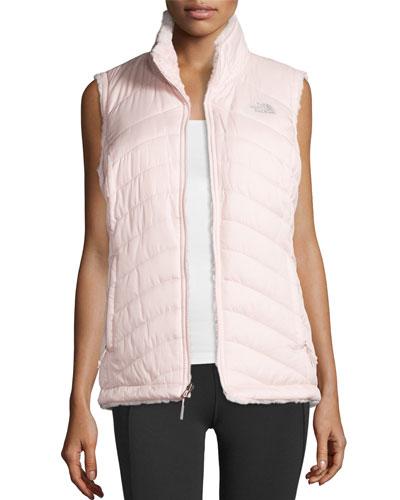 Mossbud Swirl Fleece & Taffeta Reversible Vest, Pink
