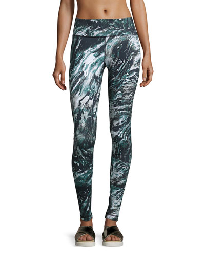 Printed Core Athletic Leggings, Marble