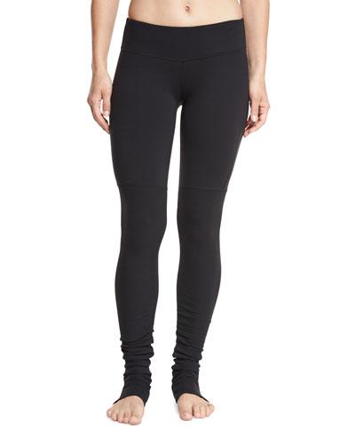 Goddess Ribbed Sport Leggings, Black/Black